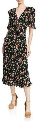 Jill Stuart Floral-Print V-Neck Short-Sleeve Cutout Dress