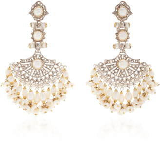 Sanjay Kasliwal Indorussian Diamond and Pearl Earrings