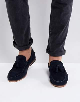 Asos Design Tassel Loafers In Navy Suede With Fringe And Natural Sole