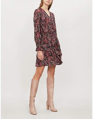 MICHAEL Michael Kors Shirred paisley-print stretch-cloqué mini dress