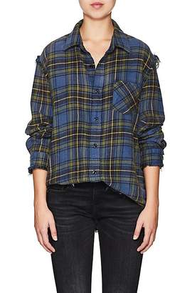 R 13 Women's Plaid Shredded Cotton Flannel Shirt