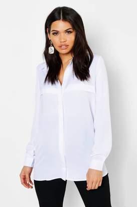boohoo Maternity Lillian Longline Side Split Shirt