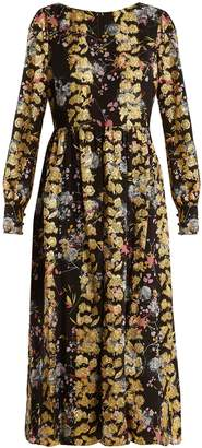 Saloni Camille floral-print and jacquard dress