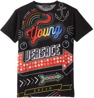 Versace Kids - Short Sleeve Neon Lights Logo Graphic T-Shirt