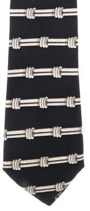 Hermes Column Print Silk Tie
