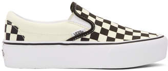 Vans Off-White and Black Checkerboard Classic Slip-On Platform Sneakers