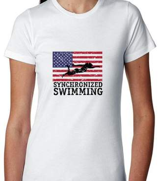 Hollywood Thread USA Olympic - Synchronized Swimming - Vintage Flag - Silhouette Women's Cotton T-Shirt