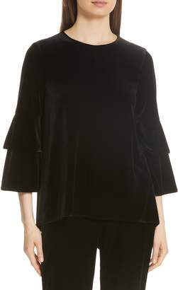 Tibi Bell Sleeve Stretch Velvet Top