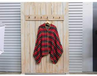 """Tickled Pink Fall Plaid Button Poncho, 26"""" x 76"""", 100% Acrylic, Red"""