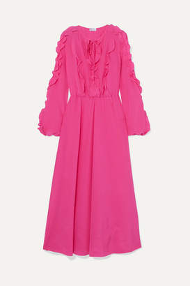 77bd52567db RED Valentino Ruffled Silk Crepe De Chine Midi Dress - Pink