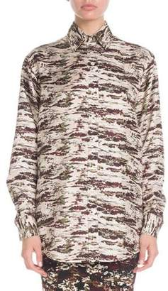 Victoria Beckham Camo-Print Button-Down Long-Sleeve Oversized Silk Shirt