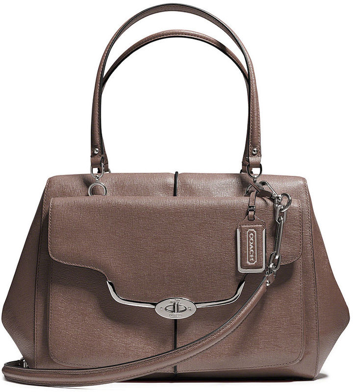 Coach Madison Large Madeline East/West Satchel In Textured Leather