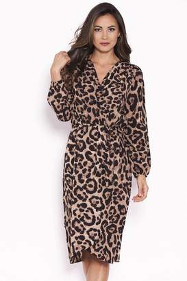 AX Paris Womens Wrap Front Animal Print Dress - Black