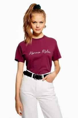 Love Womens **'Karma Rules' Slogan T-Shirt