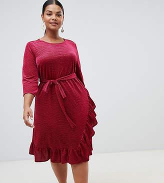 Junarose velvet wrap midi dress with frill hem in red