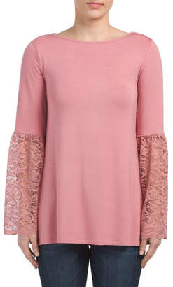 Lace Cuff Bell Sleeve Top