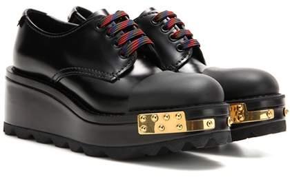 Prada Embellished leather Derby shoes