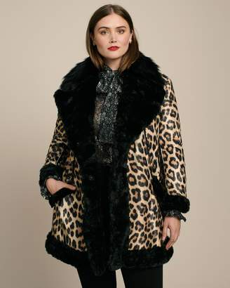 House Of Fluff Black Lined Leopard Coat