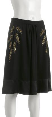 Tufi Duek black silk gold leaf beaded skirt