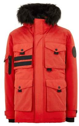Topman Mens Red Padded Parka Jacket