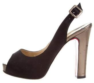 Christian Louboutin Satin Slingback Pumps