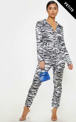 d1245679eea PrettyLittleThing Petite Satin Zebra Print Button Up Jumpsuit