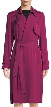 Theory Silk Belted Trench Coat