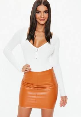 Missguided Orange Faux Leather Mini Skirt