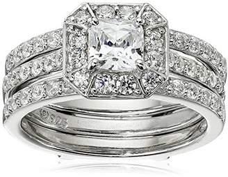 Swarovski Sterling Silver Zirconia Asscher Cut Insert Ring Set