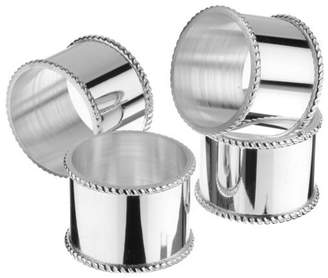 Arthur Price Set Of 4 Silver Plated Mounted Napkin Rings With A Beaded Border