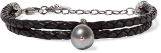 Chan Luu - Braided Leather, Silver, Pearl And Crystal Bracelet - Black $245 thestylecure.com