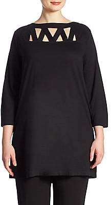 Joan Vass Women's Plus Lattice Tunic