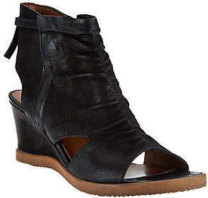 Miz Mooz Leather Open Toe Wedge Booties - Becca