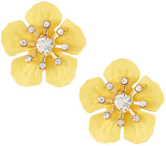 Emily and Ashley Greenbeads By Fiesta Flower Stud Earrings, Yellow