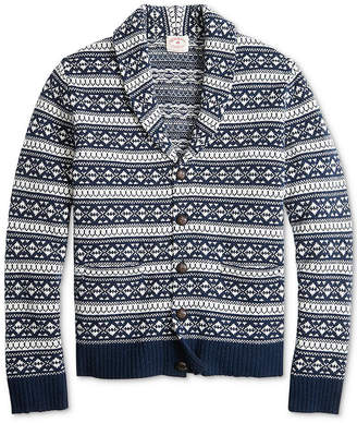 Brooks Brothers Men Red Fleece Fair Isle Shawl-Collar Cardigan