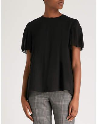 Sandro Pleated-detail cotton-jersey and chiffon T-shirt