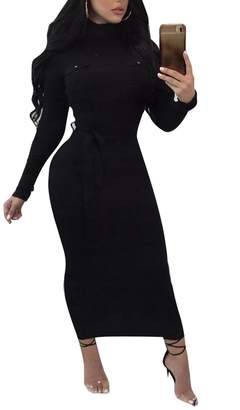 FOUNDO Women's Slim Fit Ribbed Turtleneck Long Sleeve Maxi Knit Sweater Dress L