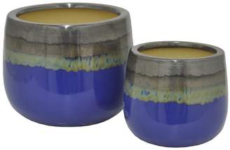 Three Hands Glazed Ceramic Pots (Set of 2)