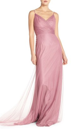 Women's Monique Lhuillier Bridesmaids Surplice Tulle Gown $290 thestylecure.com