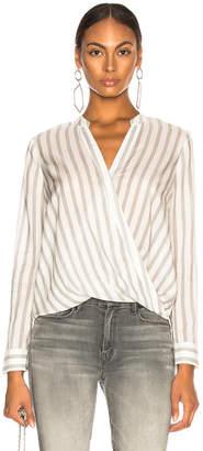 L'Agence Kyla Long Sleeve Draped Blouse