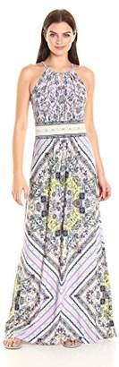 London Times Women's Sleeveless Halter Jersey Maxi Dress W. Keyhole