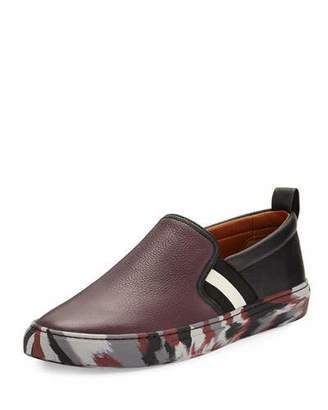 Bally Herald Leather Slip-On Sneaker with Camo Sole, Red $395 thestylecure.com