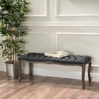 Noble House Talia Tufted Dark Grey Fabric Bench