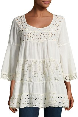 Johnny Was Bell-Sleeve Eyelet Tiered Tunic, Beige $199 thestylecure.com