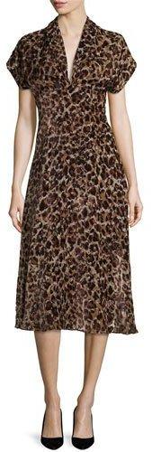 Alice + OliviaAlice + Olivia Brandee Draped-Neck Leopard-Print Midi Dress