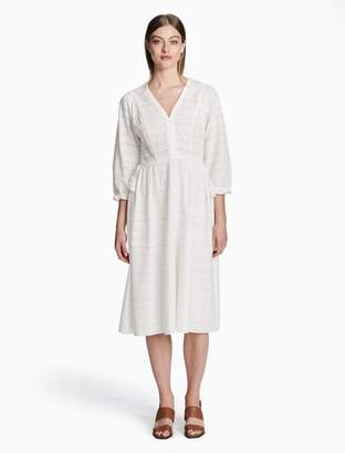 Calvin Klein eyelet v-neck 3/4 sleeve dress