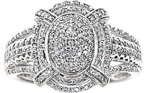 Affinity Diamond Jewelry Oval Halo Diamond Ring, 1/4cttw, 14K White Gold , by Affinity
