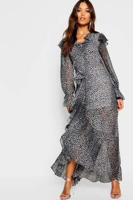 boohoo Ruffle Front Leopard Maxi Dress