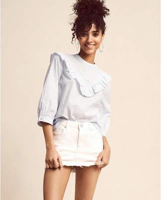 Express striped ruffle yoke blouse $59.90 thestylecure.com