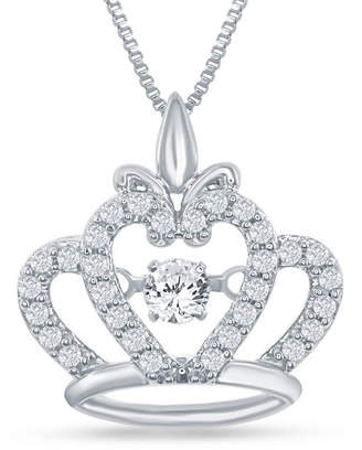 ENCHANTED FINE JEWELRY BY DISNEY Enchanted Disney Fine Jewelry 1/4 C.T. T.W. Sterling Silver Disney Princess Crown Pendant Necklace